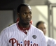 May 17, 2014; Philadelphia, PA, USA; Philadelphia Phillies left fielder Domonic Brown (9) in the dugout after scoring a run in the seventh inning against the Cincinnati Reds at Citizens Bank Park.  The Phillies defeated the Reds, 12-1. Mandatory Credit: Eric Hartline-USA TODAY Sports
