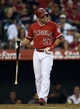 May 19, 2014; Anaheim, CA, USA; Los Angeles Angels center fielder Mike Trout (27) reacts after a strike during the first inning against the Houston Astros at Angel Stadium of Anaheim. Mandatory Credit: Kelvin Kuo-USA TODAY Sports