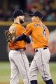 May 25, 2014; Seattle, WA, USA; Houston Astros pitcher Dallas Keuchel (60) is greeted by right fielder George Springer (4) after the final out of a 4-1 victory over the Seattle Mariners at Safeco Field. Mandatory Credit: Joe Nicholson-USA TODAY Sports