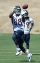May 28, 2013; Englewood, CO, USA; Denver Broncos wide receiver Demaryius Thomas (88) catches a pass during organized team activities at the Broncos training facility. Mandatory Credit: Ron Chenoy-USA TODAY Sports
