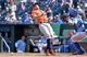 May 28, 2014; Kansas City, MO, USA; Houston Astros right fielder George Springer (4) gets hit in the back with a pitch from Kansas City Royals pitcher Luis Coleman (not pictured) during the sixth inning at Kauffman Stadium. Mandatory Credit: Peter G. Aiken-USA TODAY Sports