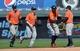 May 28, 2014; Kansas City, MO, USA; Houston Astros right fielder George Springer (center) celebrates with second basemen Jose Altuve (27) after beating the Kansas City Royals at Kauffman Stadium. The Astros beat the Royals 9-3. Mandatory Credit: Peter G. Aiken-USA TODAY Sports