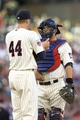 May 28, 2014; Minneapolis, MN, USA; Minnesota Twins catcher Kurt Suzuki (8) talks to starting pitcher Kyle Gibson (44) in the second inning against the Texas Rangers at Target Field. Mandatory Credit: Jesse Johnson-USA TODAY Sports