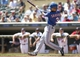 May 29, 2014; Minneapolis, MN, USA; Texas Rangers second baseman Luis Sardinas (3) hits a single in the first inning against the Minnesota Twins at Target Field. Mandatory Credit: Jesse Johnson-USA TODAY Sports
