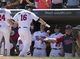 May 29, 2014; Minneapolis, MN, USA; Minnesota Twins designated hitter Josh Willingham (16) gets congratulated by teammates after hitting a home run in the fifth inning against the Texas Rangers at Target Field. Mandatory Credit: Jesse Johnson-USA TODAY Sports