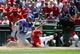 May 31, 2014; Washington, DC, USA; Washington Nationals third baseman Anthony Rendon (6) beats the tag by Texas Rangers catcher Robinson Chirinos (61) to score a run during the second inning at Nationals Park. Mandatory Credit: Brad Mills-USA TODAY Sports