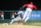 Jun 1, 2014; Washington, DC, USA; Washington Nationals shortstop Ian Desmond (20) tags out Texas Rangers second baseman Donnie Murphy (16) attempting to steal second during the seventh inning at Nationals Park. The Rangers won 2-0. Mandatory Credit: Brad Mills-USA TODAY Sports