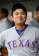 Jun 1, 2014; Washington, DC, USA; Texas Rangers left fielder Shin-Soo Choo (17) on the bench against the Washington Nationals during the sixth inning at Nationals Park. The Rangers won 2-0. Mandatory Credit: Brad Mills-USA TODAY Sports