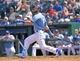 May 28, 2014; Kansas City, MO, USA; Kansas City Royals left fielder Alex Gordon (4) at bat against the Houston Astros during the fifth inning at Kauffman Stadium. Mandatory Credit: Peter G. Aiken-USA TODAY Sports
