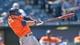 May 28, 2014; Kansas City, MO, USA; Houston Astros second basemen Jose Altuve (27) at bat against the Kansas City Royals during the eighth inning at Kauffman Stadium. Mandatory Credit: Peter G. Aiken-USA TODAY Sports