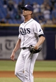 Jun 6, 2014; St. Petersburg, FL, USA; Tampa Bay Rays relief pitcher Grant Balfour (50) looks up after they beat the Seattle Mariners at Tropicana Field. Tampa Bay Rays defeated the Seattle Mariners 4-0. Mandatory Credit: Kim Klement-USA TODAY Sports