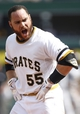 Jun 8, 2014; Pittsburgh, PA, USA; Pittsburgh Pirates catcher Russell Martin (55) reacts after being ejected for arguing balls and strikes against the Milwaukee Brewers during the eighth inning at PNC Park. The Brewers won 1-0. Mandatory Credit: Charles LeClaire-USA TODAY Sports