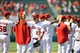 June 8, 2014; Anaheim, CA, USA; Los Angeles Angels center fielder Mike Trout (27) celebrates the 4-2 victory against the Chicago White Sox at Angel Stadium of Anaheim. Mandatory Credit: Gary A. Vasquez-USA TODAY Sports