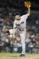 Jun 8, 2014; Detroit, MI, USA; Boston Red Sox relief pitcher Koji Uehara (19) pitches in the ninth inning against the Detroit Tigers at Comerica Park. Boston won 5-3. Mandatory Credit: Rick Osentoski-USA TODAY Sports