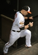 Jun 10, 2014; Baltimore, MD, USA; Baltimore Orioles designated hitter Steve Pearce (28) stretches prior to a game against the Boston Red Sox at Oriole Park at Camden Yards. Mandatory Credit: Joy R. Absalon-USA TODAY Sports
