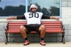 Jun 12, 2014; Berea, OH, USA; Cleveland Browns defensive lineman Billy Winn (90) sits on a bench during minicamp at Browns training facility. Mandatory Credit: Andrew Weber-USA TODAY Sports