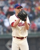 Jun 12, 2014; Philadelphia, PA, USA; Philadelphia Phillies starting pitcher Kyle Kendrick (38) pitches during the fifth inning of a game against the San Diego Padres at Citizens Bank Park. Mandatory Credit: Bill Streicher-USA TODAY Sports