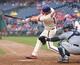Jun 12, 2014; Philadelphia, PA, USA; Philadelphia Phillies third baseman Reid Brignac (17) hits a 2 run RBI double during the sixth inning a game against the San Diego Padres at Citizens Bank Park. The Phillies won 7-3. Mandatory Credit: Bill Streicher-USA TODAY Sports
