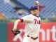 Jun 12, 2014; Philadelphia, PA, USA; Philadelphia Phillies relief pitcher Jacob Diekman (63) pitches during the eighth inning a game against the San Diego Padres at Citizens Bank Park. The Phillies won 7-3. Mandatory Credit: Bill Streicher-USA TODAY Sports