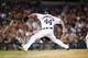 Jun 8, 2014; Detroit, MI, USA; Detroit Tigers relief pitcher Joba Chamberlain (44) pitches against the Boston Red Sox at Comerica Park. Mandatory Credit: Rick Osentoski-USA TODAY Sports