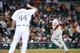 Jun 8, 2014; Detroit, MI, USA; Boston Red Sox designated hitter David Ortiz (34) runs the bases after he hits a three run home run off Detroit Tigers relief pitcher Joba Chamberlain (44) at Comerica Park. Mandatory Credit: Rick Osentoski-USA TODAY Sports