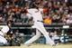 Jun 8, 2014; Detroit, MI, USA; Boston Red Sox designated hitter David Ortiz (34) hits a three run home run in the ninth inning against the Detroit Tigers at Comerica Park. Mandatory Credit: Rick Osentoski-USA TODAY Sports