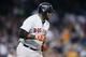 Jun 8, 2014; Detroit, MI, USA; Boston Red Sox designated hitter David Ortiz (34) runs the bases after he hits a three run home run against the Detroit Tigers at Comerica Park. Mandatory Credit: Rick Osentoski-USA TODAY Sports