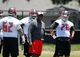 Jun 10, 2014; Tampa Bay, FL, USA;  Tampa Bay Buccaneers offensive line coach George Warhop talks with offensive lineman at One Buccaneer Place. Mandatory Credit: Kim Klement-USA TODAY Sports