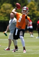 Jun 10, 2014; Tampa Bay, FL, USA; Tampa Bay Buccaneers quarterback Mike Kafka (3) throws the ball as he works out for mini camp at One Buccaneer Place. Mandatory Credit: Kim Klement-USA TODAY Sports