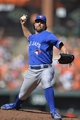 Jun 14, 2014; Baltimore, MD, USA;  Toronto Blue Jays starting pitcher R.A. Dickey (43) pitches during the second inning against the Baltimore Orioles at Oriole Park at Camden Yards. Mandatory Credit: Tommy Gilligan-USA TODAY Sports