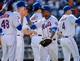 Jun 15, 2014; New York, NY, USA; New York Mets right fielder Curtis Granderson (3) celebrates the win against the San Diego Padres with teammates at Citi Field. Mandatory Credit: Robert Deutsch-USA TODAY Sports