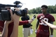 Jun 17, 2014; Ashburn, VA, USA; Washington Redskins free safety David Amerson (39) speaks with the media after a minicamp session at Redskins Park. Mandatory Credit: Geoff Burke-USA TODAY Sports