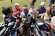 Jun 17, 2014; Ashburn, VA, USA; Washington Redskins wide receiver DeSean Jackson (1) speaks with the media after a minicamp session at Redskins Park. Mandatory Credit: Geoff Burke-USA TODAY Sports