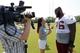 Jun 17, 2014; Ashburn, VA, USA; Washington Redskins offensive lineman Morgan Moses (76) speaks with the media after a minicamp session at Redskins Park. Mandatory Credit: Geoff Burke-USA TODAY Sports