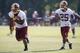 Jun 17, 2014; Ashburn, VA, USA; Washington Redskins running back Evan Royster (26) and Redskins running back Chris Thompson (25) participate in drills during minicamp at Redskins Park. Mandatory Credit: Geoff Burke-USA TODAY Sports