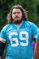 Jun 17, 2014; Charlotte, NC, USA; Carolina Panthers center Jared Wheeler walks to the practice field prior to the start of the minicamp held at the Carolina Panthers practice facility. Mandatory Credit: Jeremy Brevard-USA TODAY Sports