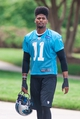 Jun 17, 2014; Charlotte, NC, USA; Carolina Panthers wide receiver Tiquan Underwood walks to the practice field prior to the start of the minicamp held at the Carolina Panthers practice facility. Mandatory Credit: Jeremy Brevard-USA TODAY Sports