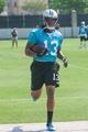 Jun 17, 2014; Charlotte, NC, USA; Carolina Panthers wide receiver Kelvin Benjamin catches a pass during the minicamp held at the Carolina Panthers practice facility. Mandatory Credit: Jeremy Brevard-USA TODAY Sports
