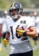 Jun 17, 2014; Pittsburgh, PA, USA; Pittsburgh Steelers receiver Lance Moore (16) participates in drills during minicamp at the UPMC Sports Performance Complex. Mandatory Credit: Charles LeClaire-USA TODAY Sports