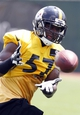 Jun 17, 2014; Pittsburgh, PA, USA; Pittsburgh Steelers linebacker Terence Garvin (57) participates in drills during minicamp at the UPMC Sports Performance Complex. Mandatory Credit: Charles LeClaire-USA TODAY Sports