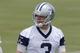 Jun 17, 2014; Dallas, TX, USA; Dallas Cowboys quarterback Brandon Weeden (3) during minicamp at Cowboys headquarters at Valley Ranch. Mandatory Credit: Matthew Emmons-USA TODAY Sports