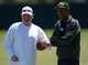 Jun 17, 2014; Alameda, CA, USA; Oakland Raiders owner Mark Davis (left) and Willie Brown at minicamp at Raiders Practice Facility. Mandatory Credit: Kirby Lee-USA TODAY Sports