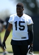 Jun 17, 2014; Alameda, CA, USA; Oakland Raiders receiver Greg Little (15) at minicamp at Raiders Practice Facility. Mandatory Credit: Kirby Lee-USA TODAY Sports