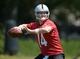 Jun 17, 2014; Alameda, CA, USA; Oakland Raiders quarterback Matt McGloin (14) throws a pass at minicamp at Raiders Practice Facility. Mandatory Credit: Kirby Lee-USA TODAY Sports