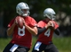 Jun 17, 2014; Alameda, CA, USA; Oakland Raiders quarterbacks Matt Schaub (8) and Derek Carr (4) throw passes at minicamp at Raiders Practice Facility. Mandatory Credit: Kirby Lee-USA TODAY Sports