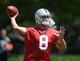 Jun 17, 2014; Alameda, CA, USA; Oakland Raiders quarterback Matt Schaub (8) throws a pass at minicamp at Raiders Practice Facility. Mandatory Credit: Kirby Lee-USA TODAY Sports