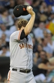 Jun 17, 2014; Chicago, IL, USA; San Francisco Giants starting pitcher Matt Cain (18) whips his face after the White Sox scored in the fifth inning at U.S Cellular Field. Mandatory Credit: Matt Marton-USA TODAY Sports