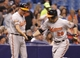 Jun 17, 2014; St. Petersburg, FL, USA; Baltimore Orioles first baseman Steve Pearce (28) is congratulated by third base coach Bobby Dickerson (11) after he hit a 2-run home run during the seventh inning against the Tampa Bay Rays at Tropicana Field. Mandatory Credit: Kim Klement-USA TODAY Sports