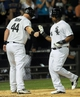 Jun 17, 2014; Chicago, IL, USA; Chicago White Sox right fielder Dayan Viciedo (24) gets a high-five from designated hitter Adam Dunn (44) after he hits a 2-run home run in the sixth inning against the San Francisco Giants at U.S Cellular Field. Mandatory Credit: Matt Marton-USA TODAY Sports
