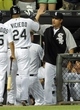 Jun 17, 2014; Chicago, IL, USA; Chicago White Sox right fielder Dayan Viciedo (24) gets a high-five from manager Robin Ventura after he hits a 2-run home run in the sixth inning against the San Francisco Giants at U.S Cellular Field. Mandatory Credit: Matt Marton-USA TODAY Sports